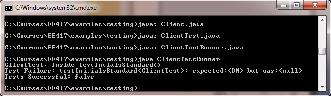 Client Test Runner Output