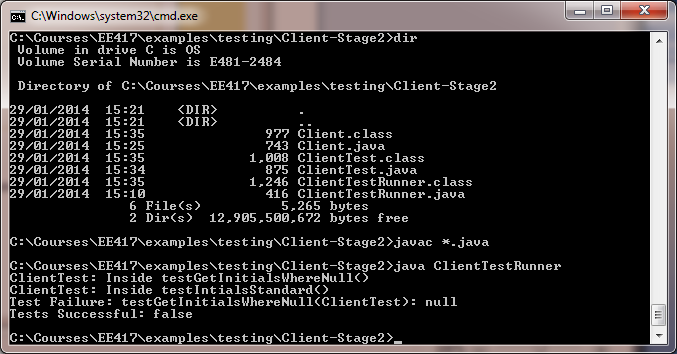ClientTestRunner Expected Output