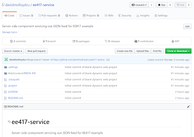 GitHub showing server repository complete with new files